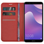 Leather Wallet Case & Card Holder for Huawei Nova 2 Lite - Red